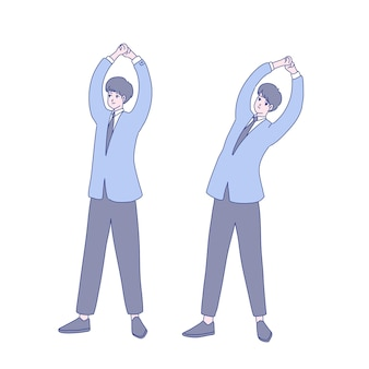 Дизайн иллюстрации упражнения бизнесмена