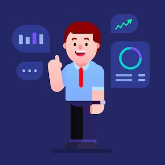 Бизнесмен, объясняя финансовые и деловые данные