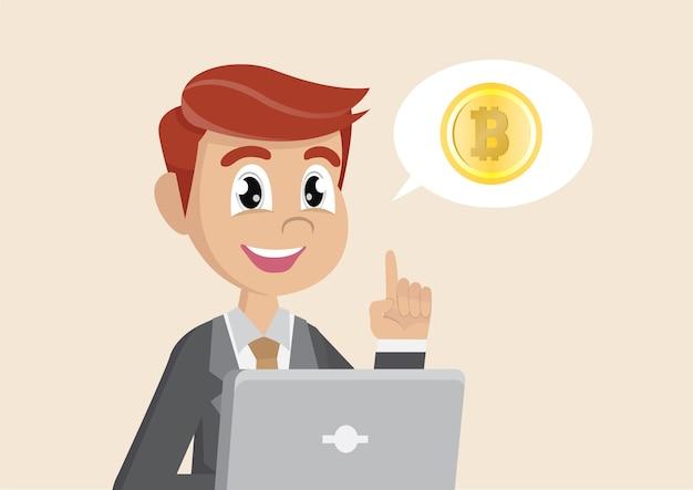 Businessman explains about bitcoin.