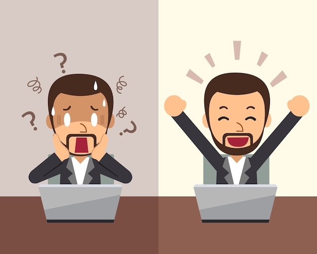Businessman expressing different emotions cartoon style