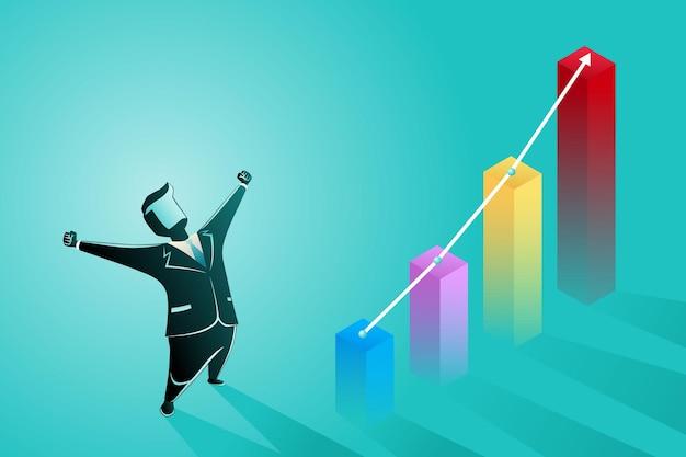 Бизнесмен выражение успеха с ростом красочный график диаграммы