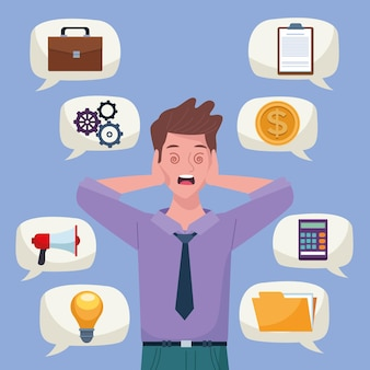 Businessman extressed for information overload with icons in speech bubbles  illustration