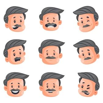 사업가 얼굴 표정 문자 집합