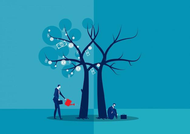 ビジネスマンの失敗と成長は、投資家のイラストレーターと比較されます。