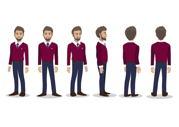 Businessman in fall casual with purple sweater shirt cartoon character animation set.
