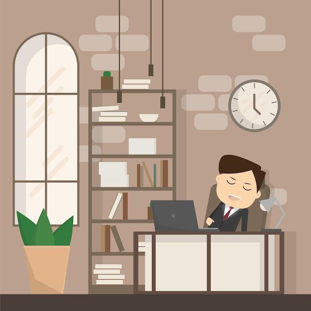 사업가는 직장에서 잠이 들고, 잠을 자고, 졸고, 긴장을 풀고, 휴식을 취하거나 일할 때 게으른 비즈니스 개념입니다. 사무실에서 잠자는 남자. 벡터 일러스트 레이 션