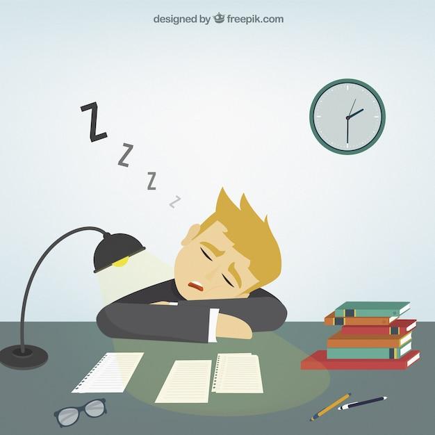 Person Falling Asleep At Art Desk Drawing