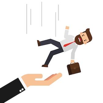 Businessman falling on big hand