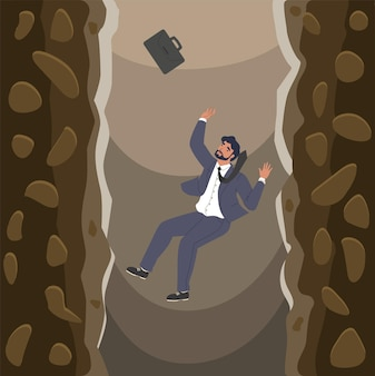 Businessman falling over cliffs into abyss flat vector illustration business failure bankruptcy cris...