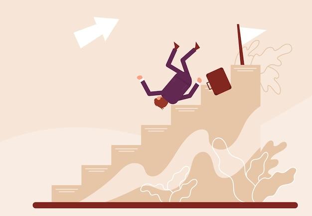 Бизнесмен падает по карьерной лестнице цветные векторные иллюстрации шаржа