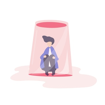 Businessman feeling small and trapped illustration