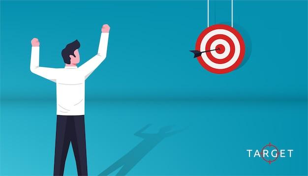 Businessman feels joy after hitting on dartboard  illustration. focus on goal.