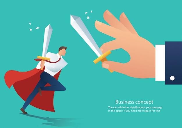 Businessman fight boss at work