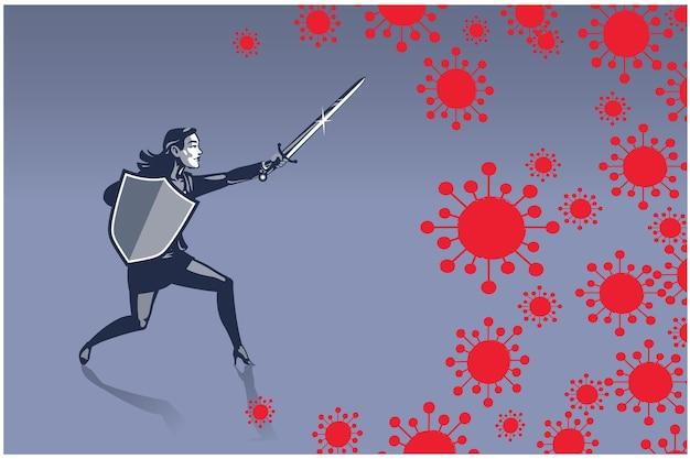ビジネスイラストコビッド19コロナウイルスと剣と盾のビジネスイラストコンセプトと戦う