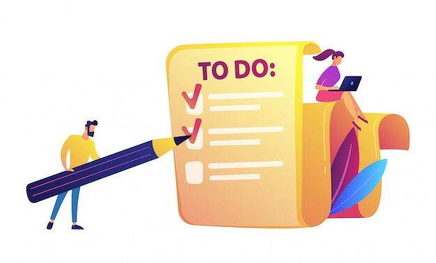 Businessman filling to do list with pencil and woman with laptop vector illustration.
