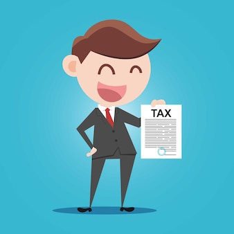 Businessman filling out tax information