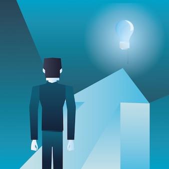 Businessman on financial arrow looking bulb idea