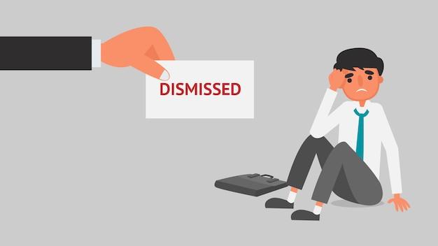 Концепция финансового кризиса бизнесмена. работник давая увольнение извещение к иллюстрации дела молодого человека. квартира