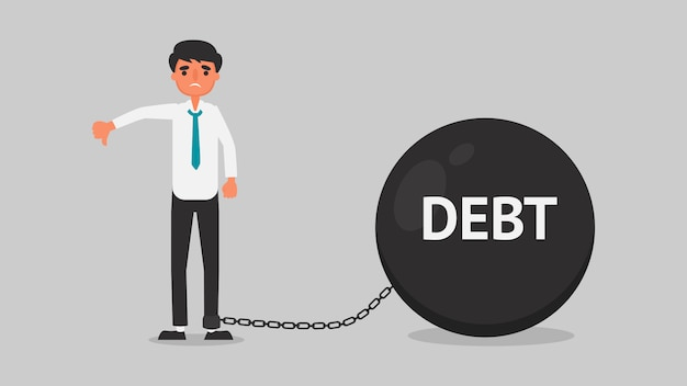 Businessman financial crisis concept.young man is worried about the debt because of unemployment.business illustration  flat