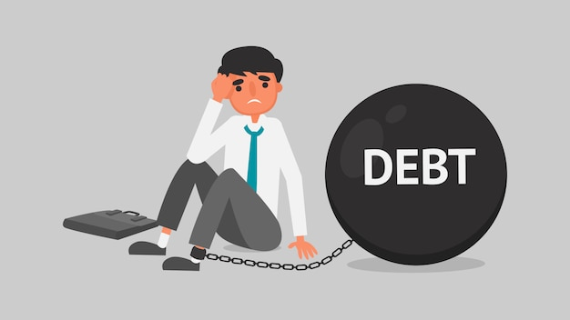 Businessman financial crisis concept. young man is worried about the debt because of unemployment.business illustration  flat