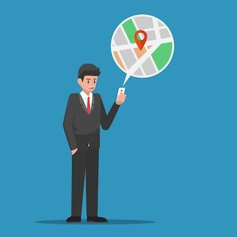 사업가는 스마트폰의 지도 응용 프로그램에서 위치를 찾습니다. 비즈니스 및 기술 개념입니다. 비즈니스 및 기술 개념입니다.