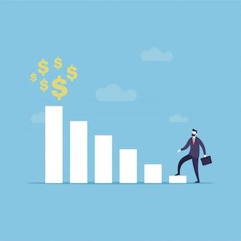 Businessman first step to reach goal
