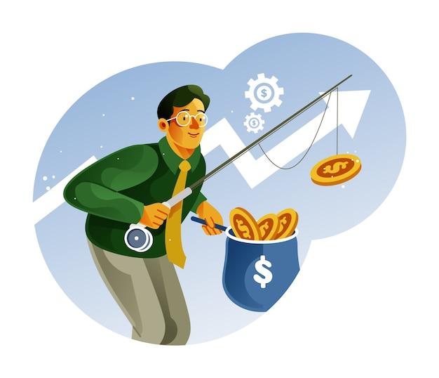 Бизнесмен рыбалка деньги иллюстрация