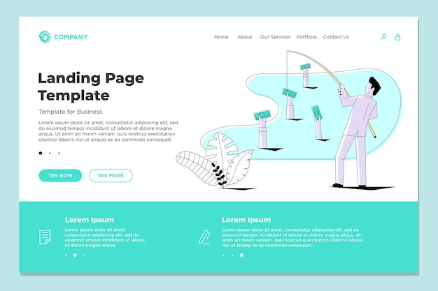 Businessman fishing money receiving investment profit website landing page design. finance crowdfunding or fundraising concept template vector illustration