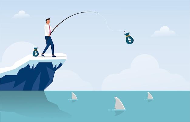 Бизнесмен рыболовный мешок денег иллюстрации