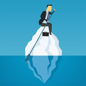 Businessman floats on iceberg, business challenge