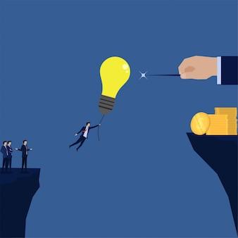 Бизнесмен летать с идеей шар, чтобы игла метафора жадного банкротства.