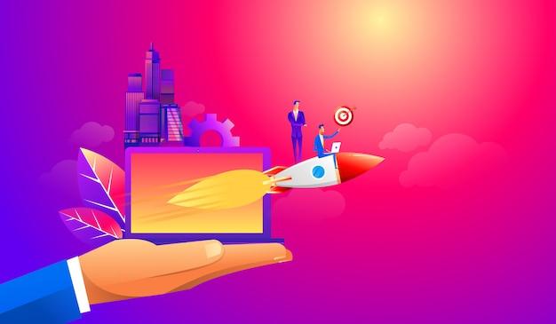 Businessman flying forward with a rocket engine