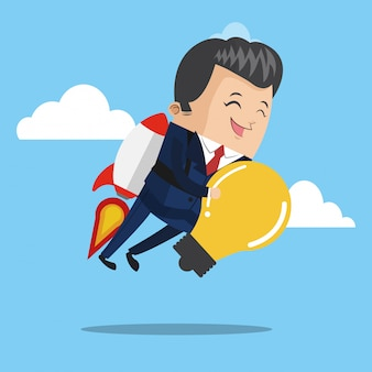 Businessman flying jetpack with bulb