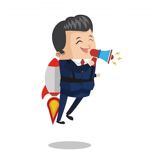 Businessman flying jetpack with bullhorn