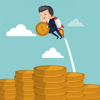 Businessman flying jetpack with coin