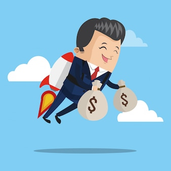 Businessman flying jetpack with money bags