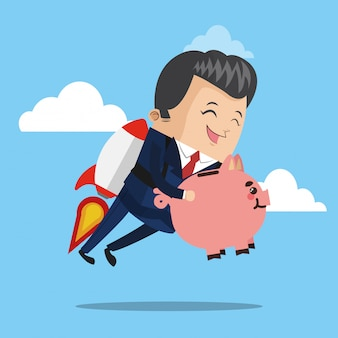Businessman flying jetpack with piggy