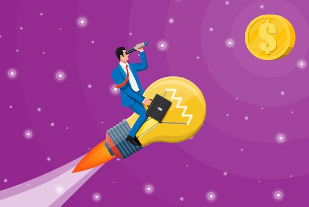 큰 아이디어 전구를 타고 날아가는 사업가가 로켓을 형성했습니다. 망원경을 통해 찾고 램프에 사업가입니다. 큰 아이디어, 성공, 성취, 비즈니스 비전 경력 목표. 평면 벡터 일러스트 레이 션