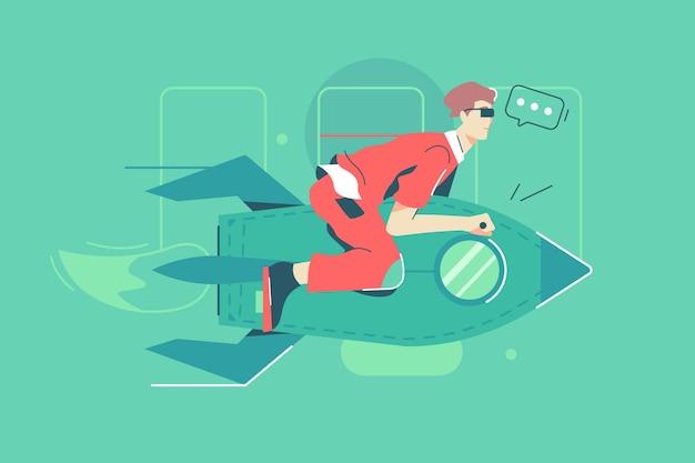 Бизнесмен, летящий на красной ракете векторные иллюстрации. персонаж человека летит в небо, плоский стиль деловой хватки. запуск, начало бизнеса, концепция карьерного роста. изолированные на зеленом фоне