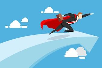 Businessman flying on the success arrow