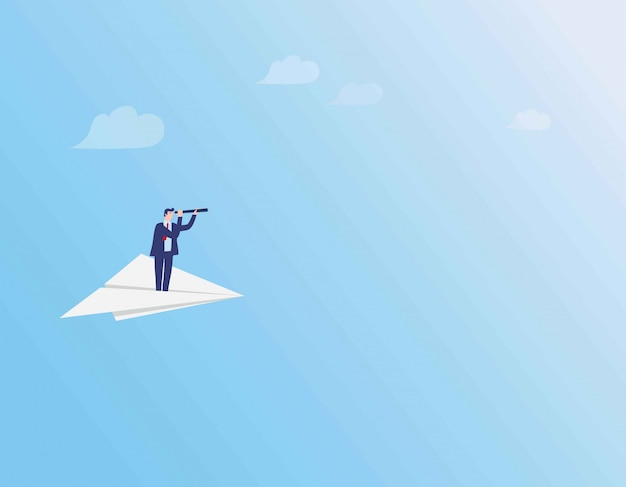 Businessman flying on paper plane above clouds.