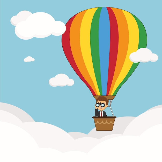 Businessman flying in the sky on hot air balloon looking through spyglass
