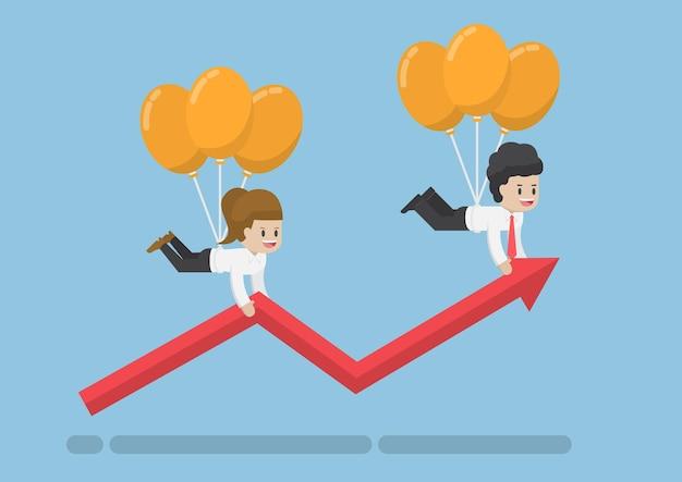 풍선을 타고 날아가는 사업가는 그래프 성장을 돕습니다. 비즈니스 솔루션 및 성공 개념입니다.