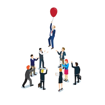 Businessman flying with a balloon
