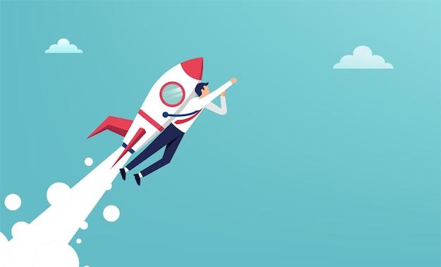 ジェットパックのイラストで飛んでいるビジネスマン。