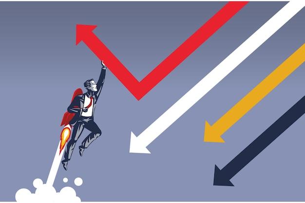 떨어지는 화살표의 방향을 변경하는 로켓으로 비행하는 사업가. 비즈니스 방향을 바꿀 수있는 단일 비즈니스 사람의 일러스트레이션 컨셉