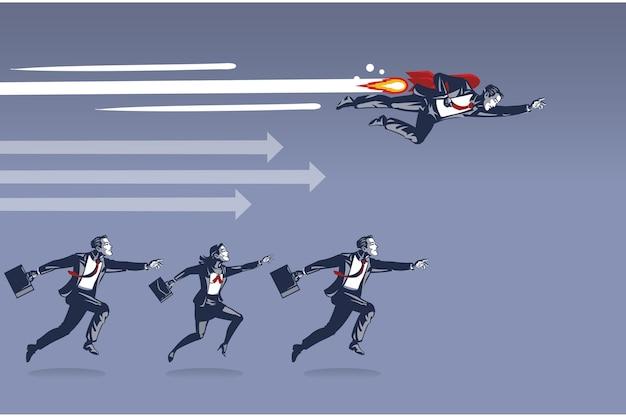 Бизнесмен, летящий с ракетой, становится быстрее, обыгрывая всех остальных в гонке за концепцию иллюстрации