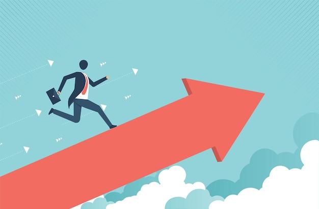 밝은 배경에 그려진 화살표를 따라 사업가입니다. 성공과 성장 개념입니다. 벡터 디자인입니다.