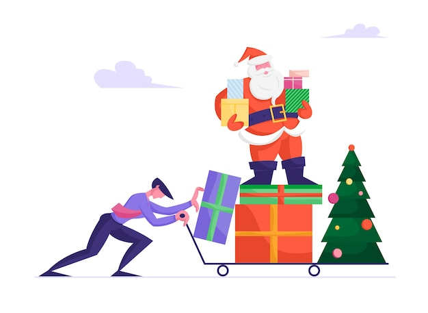 Businessman in formal wear pushing manual trolley with santa claus character