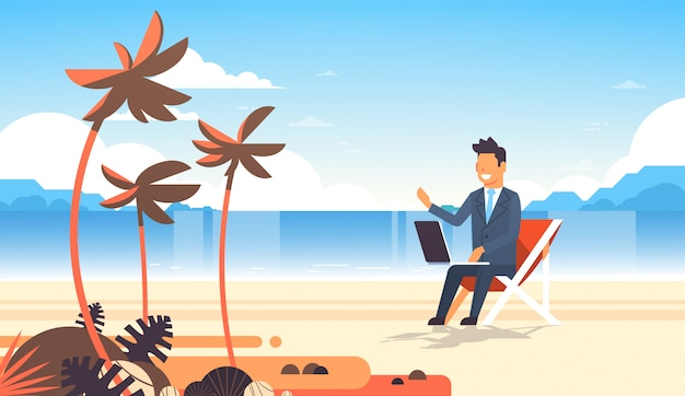 Businessman freelance remote working place beach summer vacation tropical palms island business man s